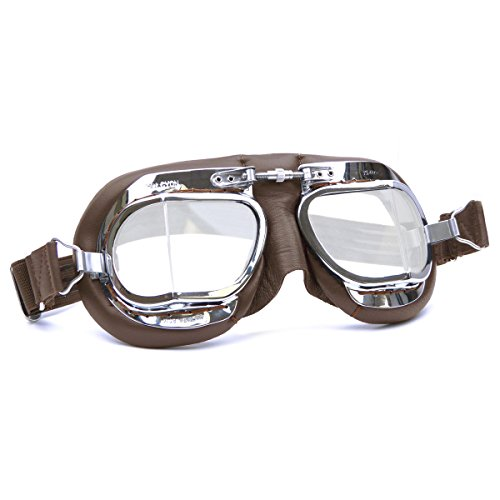 HDM Products Mk49 Leather Motorcycle Goggle For Open Face Helmets Brown