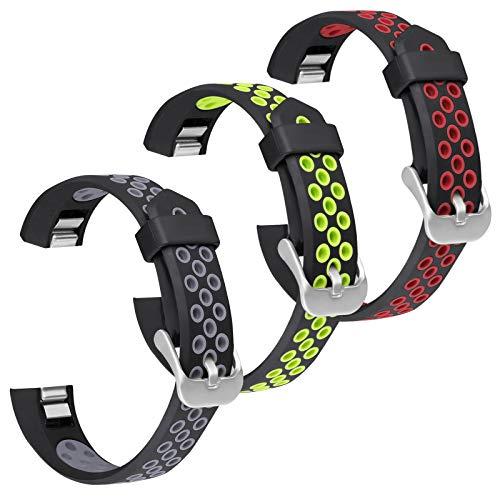 SKYLET Bands Compatible with Fitbit Ace Kids/Fitbit Alta Hr Bands Women Men, 3 Pack Soft Breathable Sport Wristbands Compatible with Fitbit Alta Small Large Black
