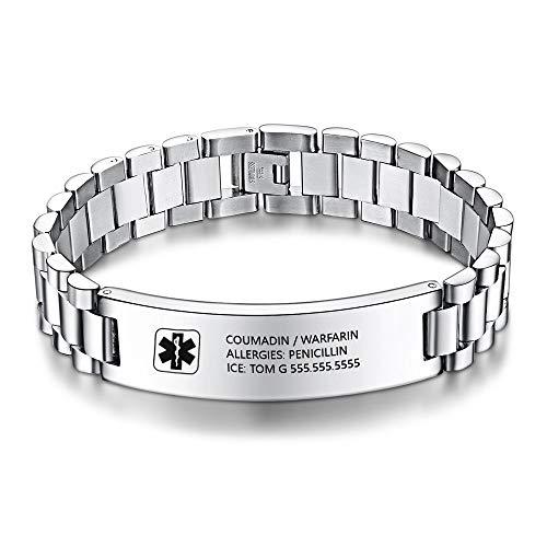 Gaosh Nombre personalizado unisex ID Pulsera de acero inoxidable Pulsera elástica Brazalete con emblema médico grabado 12 mm de plata para hombres y mujeres