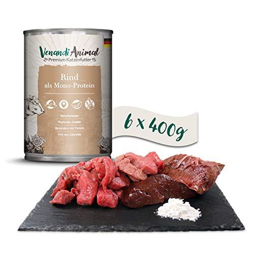 Venandi Animal Premium Nassfutter für Katzen, Rind als Monoprotein, 6 x 400 g, getreidefrei und naturbelassen, 2.4 kg