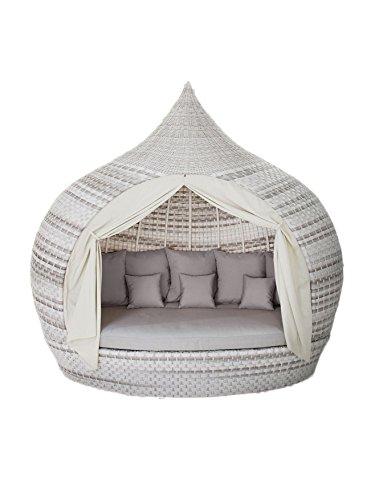 Strandkorbwerk Liegeinsel Eye Catcher Lounge Harkers Island Wash Duo Weaving grau-weiß einseitig offen Liege Insel Lounge