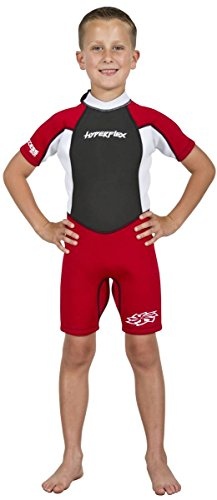 Hyperflex Access Child's and Junior's 2mm Backzip Shorty Wetsuit - Warm, Comfortable Kid's Springsuit with 4-Way Stretch Neoprene and SPF Protection - Adjustable Collar and Flat Lock Construction - Re