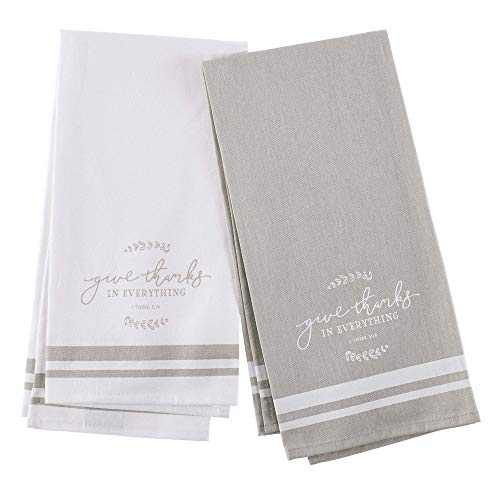 Christian Art Gifts Embroidered Kitchen Tea Towel Set | Give Thanks in Everthying | White/Taupe Flour Sack Cotton Dish Cloth, Give Thanks Collection, Set of 2 Tea Towels