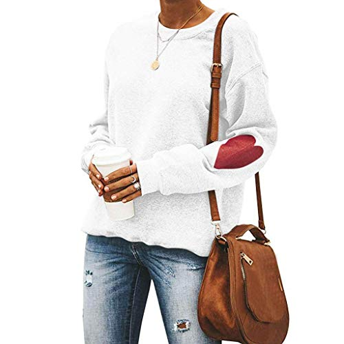 Women's Casual Solid Color O-Neck Valentine's Day Love Print Loose Sweatshirt White