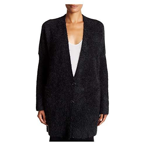 Eileen Fisher Charcoal Mohair Plush Melange V-Neck Long Cardigan L XL (XL)