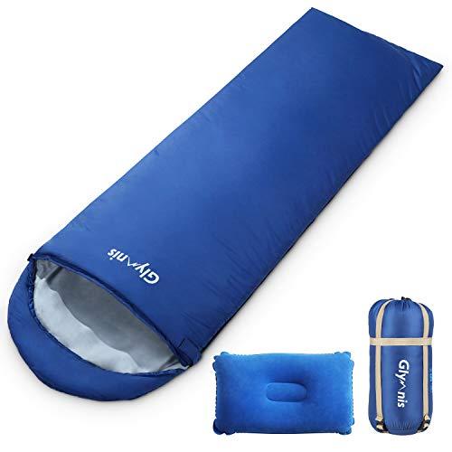 Glymnis Schlafsack Deckenschlafsack Ultraleicht klein warm Sommerschlafsack 210x75 cm für Outdoor Camping Kapuze Wandern mit aufblasbarem Kopfkissen und Kompressionsbeutel