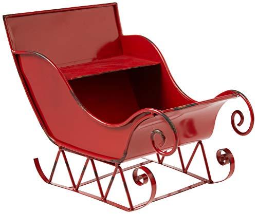 Boston International Metal Decorative Santa Sleigh, 14 x 10.75-Inches, Red