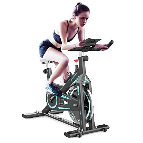 2WD Cyclette stazionaria, Bici da Ciclismo Indoor, Bici con volano Girevole con Monitor LCD e portabicchieri per Bici da Allenamento Cardio da Palestra