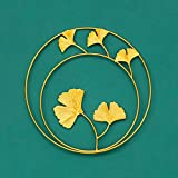 Adornos de hojas de metal - Colgante de pared de metal de hoja redonda dorada de lujo ligero europeo - Oficina en casa...