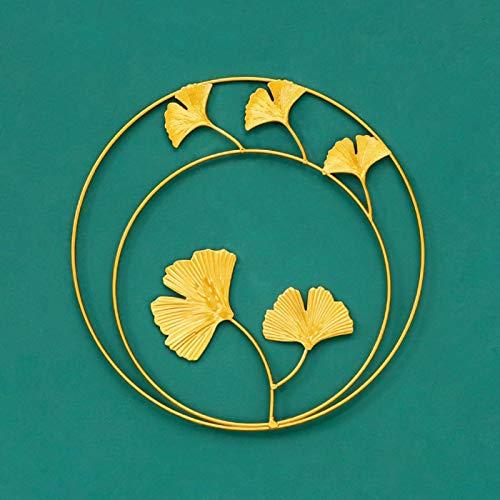 Adornos de hojas de metal - Colgante de pared de metal de hoja redonda dorada de lujo ligero europeo - Oficina en casa Piezas para colgar en el dormitorio de hierro forjado Decoración de pared