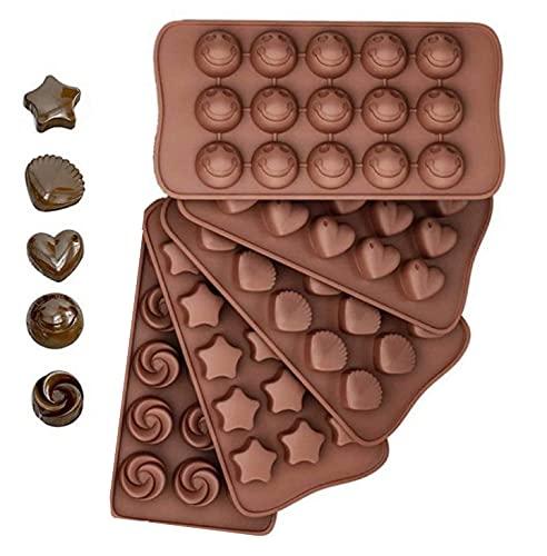 5 Piezas Moldes de Chocolate,5 Formas Diferentes Moldes de Bombones para Caramelos,bandejas para cubitos de hielo,Chocolate Marrón,Muffins moldes antiadherentes para cocina