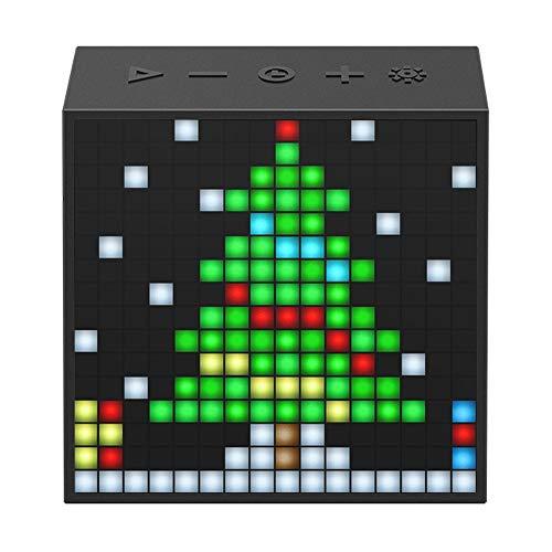 ZTKBG Bluetooth draagbare luidspreker met wekker, programmeerbaar LED-display voor pixels, kunst creatie, zwart