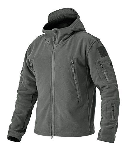 EKLENTSON Herren Funktionsjacke Winter Man Fleece-Jacke mit Kapuze Reißverschluss und Multi Taschen Grau, L