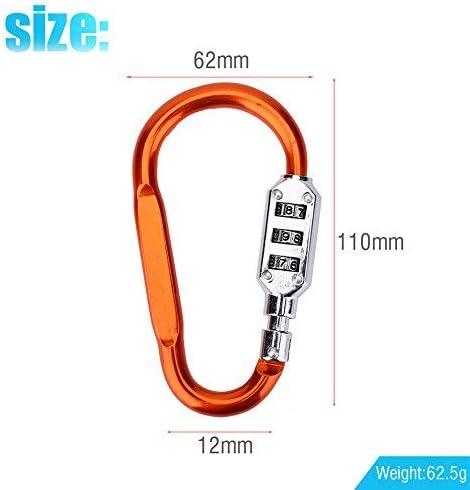 TOPINCN - Mosquetón de Seguridad de aleación de Aluminio con Gancho para Escalada con combinación de 3 dígitos, candado de Bloqueo para Acampada, ...