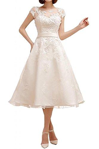 YASIOU Hochzeitskleid Standesamt Damen A Linie Kurz Tüll Spitze Weiß Vintage Durchsichtig Hochgeschlossen Knielang Brautkleid
