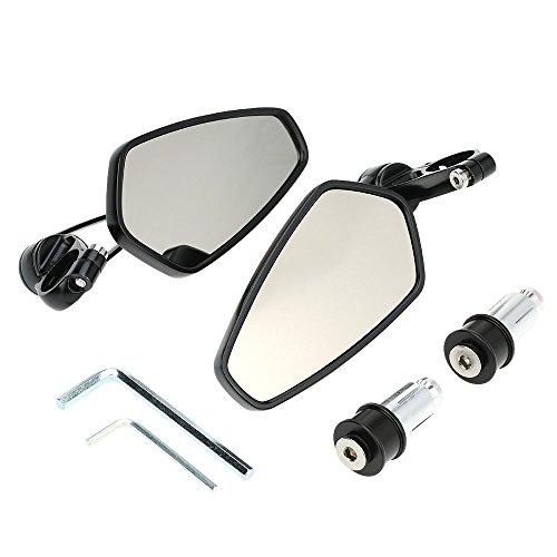 KKmoon 7/8' 22 mm Espejo Retrovisor de Moto,Retrovisores CNC Aluminio Soporte de Rotación de 360 grados Espejos Laterales de Moto