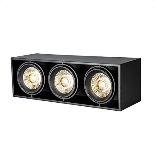 Foco de techo LED, moderna Cubo Spots 3 Luz, montaje del accesorio de iluminación, lámpara ajustable acento, luces de aluminio negro, illumation Luminaria for dormitorios, sala de estar, cocina