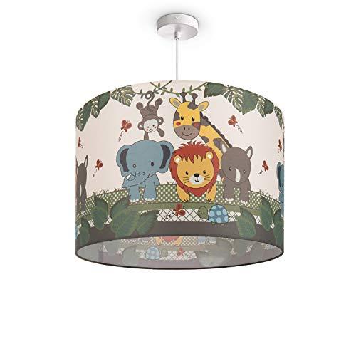 Kinderlampe Deckenlampe LED Pendelleuchte Kinderzimmer, Dschungel-Tiere, E27, Lampenschirm:Grün (Ø45.5 cm), Lampentyp:Pendelleuchte Weiß + Leuchtmittel