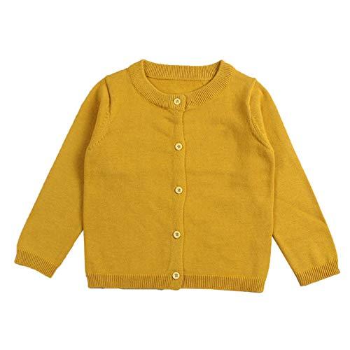 WSLCN Kinder Strickjacke für Mädchen Jungen Basic Cardigan Übergangsjacke Stricken Dunkel Gelb 5 Jahre Alt(für ca. 120cm)