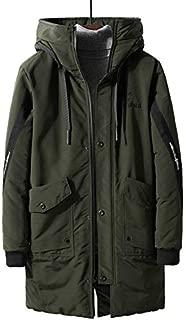 ETOSELL Winter Warm Windproof Hood Men Jacket Warm Men Parkas Parka Fashion Casual Coat Plus Size M-4XL Color:Black, Size:XXL