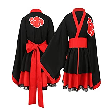 Akatsuki Uchiha Itachi Lolita Dresses Kimono Women Dress Anime Cosplay Costume Girl Fashion Dress  Child M