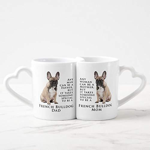 Couple Mug Set of 2, Frenchie Mom Dad Mug Set Ceramic Mugs Set Valentines Birthday Gifts His and Her Set Love Present
