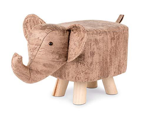 NOXXIEZ Repose-pieds pour enfants en forme danimal – Repose-pieds et chaise capitonnés pour chambre à coucher, espace de vie (rayures éléphants)
