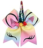 Kenz Laurenz Unicorn Bow for Girls - Cheer Bows w Ponytail Holder Colorful Elastic Hair Tie Rainbow Ribbon JoJo Birthday Party Gifts Supplies Favors Costume Outfit Cheap Blanks (Multi Colored)