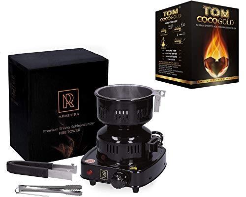 M.rosenfeld Shisha Kohlenanzünder mit 450w (Set 4 Tom Coco Gold 1KG Premium Kokosnuss Naturkohle für Shisha & BBQ)