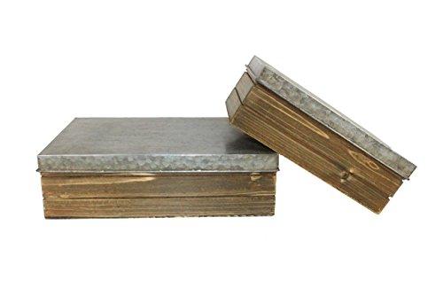 Boites rectangles zinc et bois lot de 2