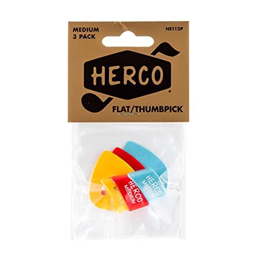 Herco HE112P Flat Thumbpicks, Medium, 3/Player's Pack