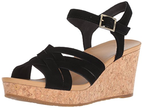 UGG Women's Uma Wedge Sandal, Black, 7.5 M US