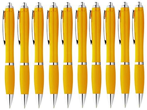 StillRich Industries 50 Stück gelbe Regenbogen Kugelschreiber Set Premium Kulli, ballpoint pen, hochwertige, ergonomische und blauschreibende Kugelschreiber (gelb)