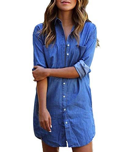 Kidsform Chemisier été Femme Casual Robe Courte Blouse Shirt Manches Longues Chic Tops Tunique Longue Fluide Bouton Ample A-Bleu Clair XL