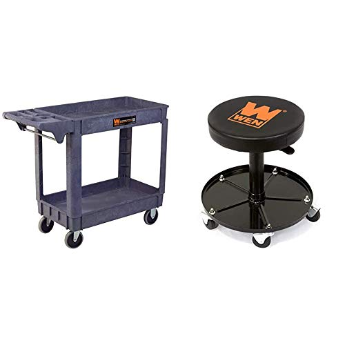 WEN 73002 500-Pound Capacity 40 by 17-Inch Service Utility Cart & 73012 300-Pound Capacity Pneumatic Rolling Mechanic Stool Seat