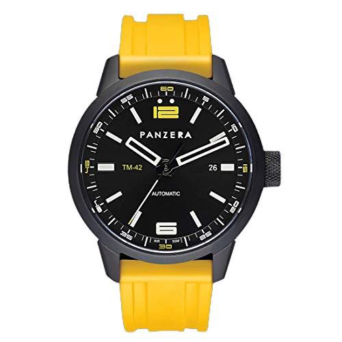 Panzera Time Master Automático Acero Negro Amarillo Silicona Reloj Hombre