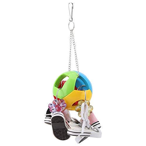 HEEPDD Papagei kauen Spielzeug, Vögel kauen hängende Spielzeuge Mini Sportschuhe Kunststoff beißende Kugel Spielzeug für afrikanische graue Nymphensittiche Sittiche