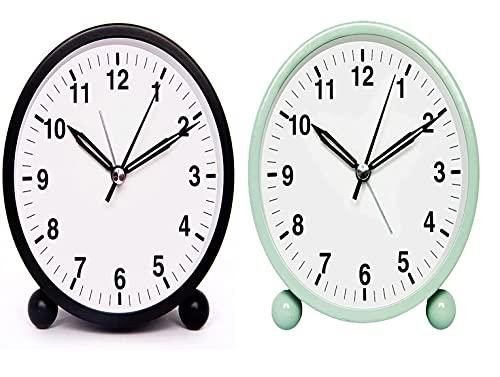 Blan Despertador analógico de 10,2 cm, silencioso, sin tictac, pequeños relojes de mesa a pilas, reloj de escritorio con luz nocturna para dormitorio (negro, verde)