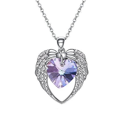 Yatrendy Collar para mujer Collares con colgante de corazón de amor con alas de ángel con cristales Swarovski Regalo para el día de la madre / Esposa / Amiga (púrpura )