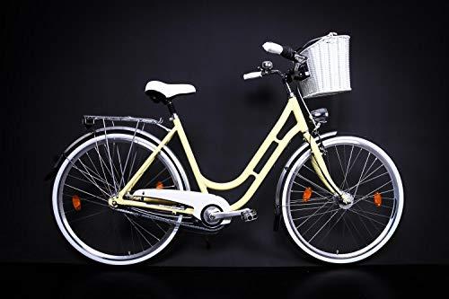 "28\"" Zoll Alu MIFA Retro Damen Fahrrad City Bike Shimano 7 Gang Nabendynamo gelb"