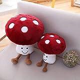 Cute Mushroom Pillow, 3D Creative Stuffed Plush Mushroom Pillow Plush Toys Red (10inch)