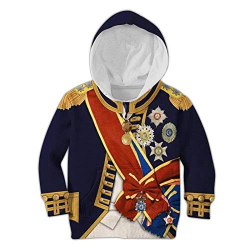 Traje Colonial de Personalidad para niños, Uniforme del ejército histórico Realista, Disfraz de Figura histórica con Estampado 3D, Sudadera con Capucha para niño y niña
