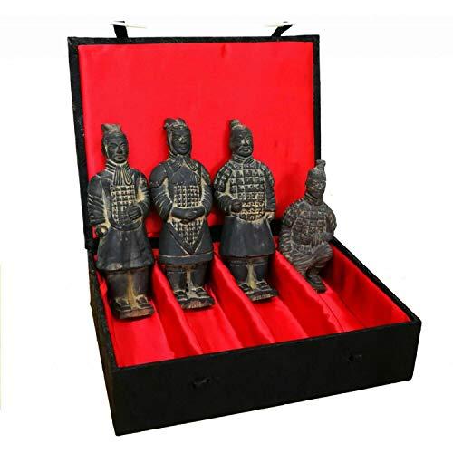 Terrakotta-Krieger – Set mit 4 chinesischen Figuren – 17 cm hoch – Geschenkbox