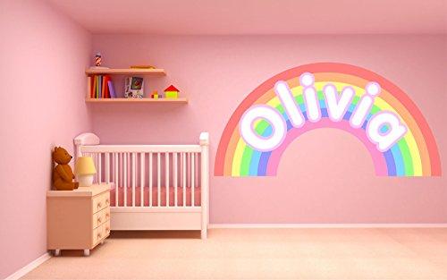 Adhesivo de pared personalizable con diseño de arcoíris pastel para dormitorio infantil (tamaño XL, 150 cm de ancho x 75 cm de alto), Small - 45cm wide x 22cm high