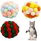 3 Pcs Pelota Colorida para Mascotas, 5cm Bola de Peluche para Gato, Juguete para Mascotas con Campana, Juguetes Interactivos para Gatos para Gatos Entrenamiento de Gatitos Jugando Masticando