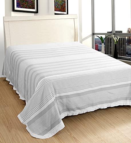 EUROSTYLE Colcha Art. Volant - Colcha ligera para cambio de estación, juego de decoración para cama de algodón 100% fibra natural, diseño de Kerala a rayas con borde volante (dimensiones: gris