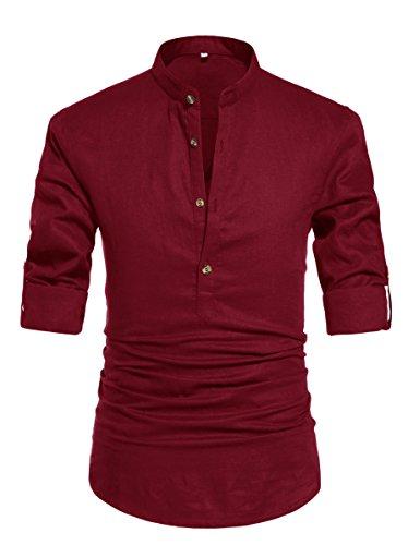 NITAGUT Men Henley Neck Long Sleeve Daily Look Linen Shirts Casual...