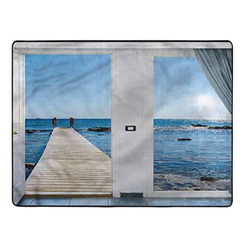 Beach Bedroom Rugs Patio Ocean Sea Sunny Rectangle Accent Rugs Non-Slip Nursery Room Kids Play Mat 5 x 7 Ft