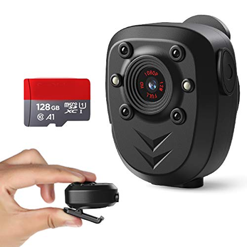 Body Camera Built-in 128GB Memory Card 1080P Police Video Recorder Wearable Portable Security Cam Webcam with Night Vision Pocket Clip IR Dash Cam for Home/Outdoor/Law Enforcement/Cop Guard