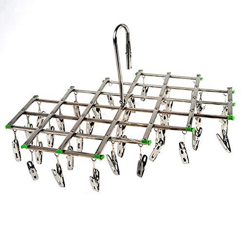 Winddichte RVS Draaibare Kleerhanger Organizer met 35 clips Zilver